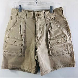 Cabelas 7 pocket khaki high waist cargo shorts 10